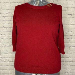 Karen Scott 3/4 Sleeve Burgundy Sweater
